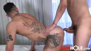 RAWHOLE Inked Joao Miguel Raw Fucked By Hung Brazilian Stud
