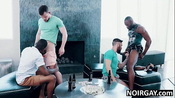 Strip poker turns into bbc gay interracial orgy